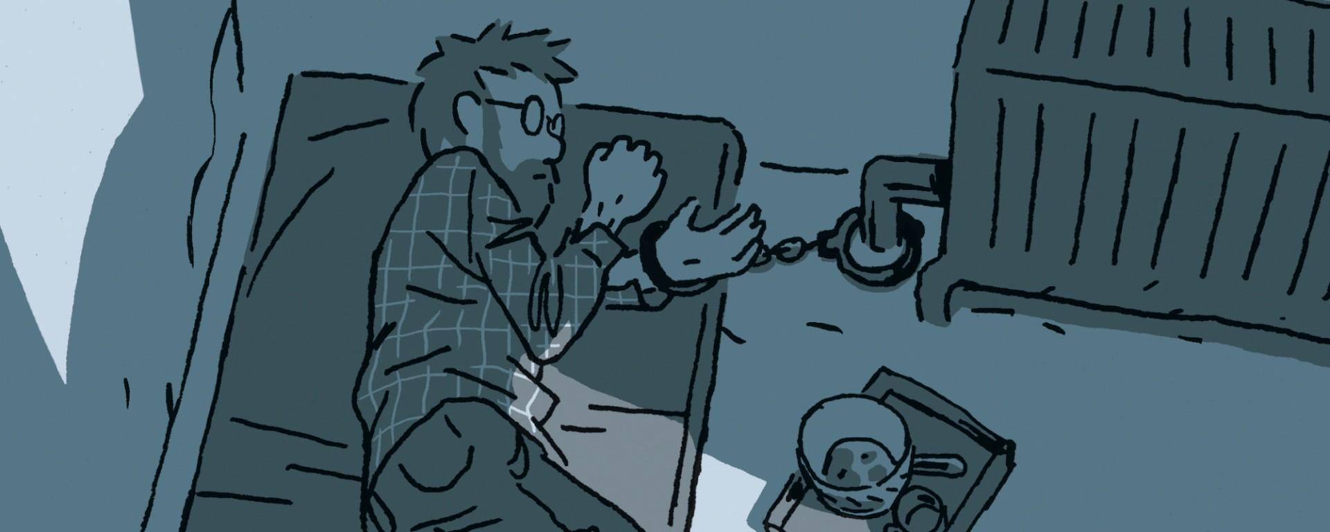 homme menotté à un radiateur